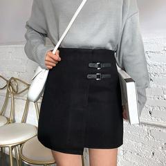 大码黑色高腰半身裙女冬季不规则短裙2018新款宽松学生a字包臀裙