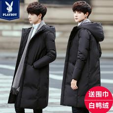花花公子羽绒服男过膝中长款冬季新款加厚韩版修身青年学生外套潮
