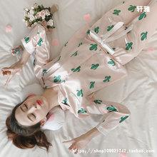 甜美可爱家居服两件套 丝绸韩版 真丝睡衣女夏冰丝长袖 春秋季薄款