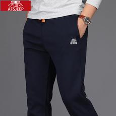 正品战地吉普秋冬款男士休闲运动裤加绒加厚宽松直筒保暖卫裤子潮