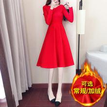 很仙的连衣裙长裙秋冬季女法国小众egg裙复古气质加厚红色连衣裙