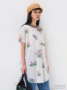 稀罕高端系S*per H@kka19ss 弧形開叉 花朵條紋mix棉麻短款連衣裙