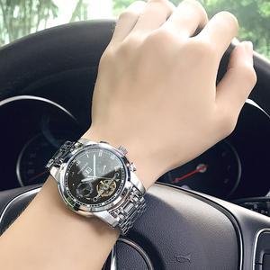 正品宾卡达手表男士全自动机械表商务夜光防水时尚镂空精钢男表手表