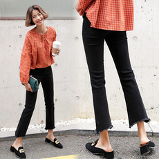 韩版黑色牛仔喇叭裤女 九分裤高腰显瘦微喇裤女毛边2017春季新款