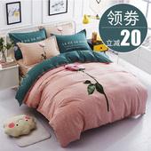 加厚纯棉四件套全棉纯棉4件套件公主风1.8m床上用品床单双人被套