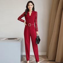 阿依莲2018春装新款时尚女装坊以純  气质两件套休闲套装连体裤潮