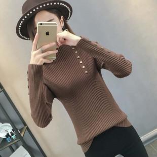 半高领毛衣女套头韩版修身长袖打底衫2018秋冬新款内搭紧身针织衫