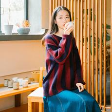 【买一送一】复古bf风修身蝙蝠袖针织衫条纹中长款套头毛衣女秋冬
