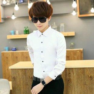 包邮衬衫男修身长袖衬衣韩版潮流工作衣服白色男装19.9元特价工装