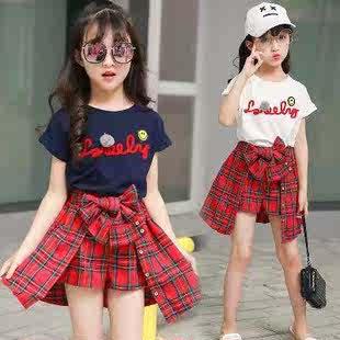 女童2018新款夏季绣花格子裙裤假两件套儿童夏装韩版洋气短袖套装