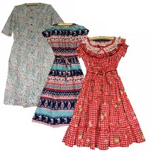 古着Vintage日本制复古连衣裙森系赫本中长裙棉布洋装软妹裙子夏