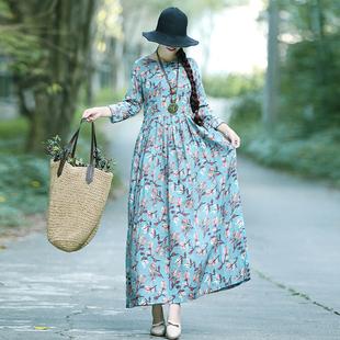 秋装新款民族风女装复古森女文艺印花宽松大码长袖棉麻连衣裙长裙