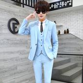 秋季韩版 男帅气修身 三件套装 西装 一套小西服外套青少年学生潮 男装