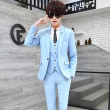 三件套装秋季韩版西装男帅气修身男装一套小西服外套青少年学生潮