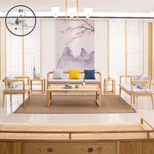 新中式简约现代守静家丈撤⒉杓妇频曜≌客厅成套家具组合大甩卖