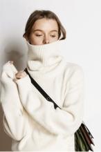 网红慵懒风宽松毛衣女高领短款加厚长袖套头针织打底羊绒衫定制潮