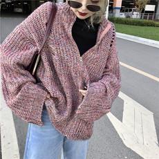 复古港风chic撞色个性破洞大袖子宽松bf百搭针织衫拉链毛衣外套女