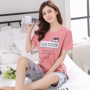 韩版睡衣女夏季七分裤纯棉短袖套装夏天甜美休闲家居服两件套