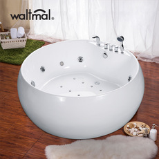 沃特玛 圆形浴缸独立式双人冲浪按摩浴缸1.55米泡澡浴池 可加恒温
