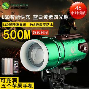 钓鱼灯强光远射蓝光钓鱼电筒USB可充电防水四光源1000W夜钓灯台钓