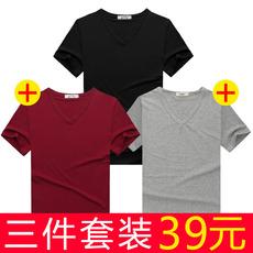 夏季男士短袖t恤男装纯色v领打底衫纯棉半袖男修身体恤纯黑白衣服