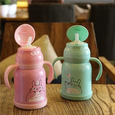 婴儿保温杯带手柄吸管杯宝宝水杯不锈钢学饮杯儿童水壶喝水杯子