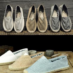 夏季复古中国风民族服装亚麻鞋子棉麻禅鞋男情侣茶鞋老北京布鞋