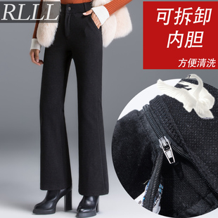 微喇羽绒裤女外穿中老年加厚白鸭绒高腰妈妈可拆卸保暖棉裤阔腿裤