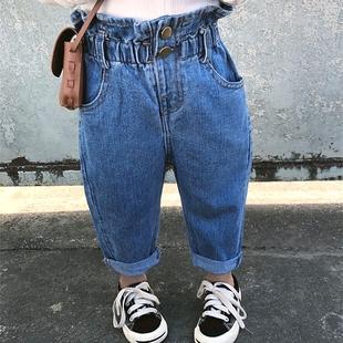 宝宝牛仔裤高腰花边萝卜裤纯棉软牛仔春秋裤子男女童韩版潮裤小童