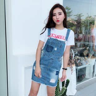 2018新款韩版学生修身显瘦连衣裙牛仔背带裙女夏季短裙潮