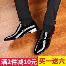 男正装皮鞋商务青年新款英伦黑色漆皮鞋男夏季套脚韩版尖头男士鞋