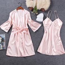 睡衣女冰丝春秋两件套性感吊带睡裙丝绸短袖真丝睡袍带胸垫家居服