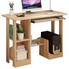 工贸店白色/浅胡桃色台式电脑桌右侧机箱位长1米/1.2米宽48高72cm