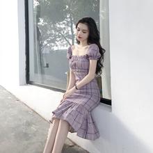 夏季2018新款气质百搭修身显瘦复古宫廷风鱼尾格子中长款连衣裙女