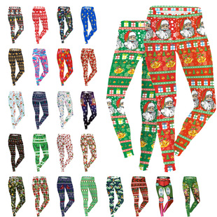 Sexy Women Christmas Leggings Printed Trousers Wholesale