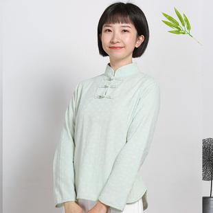 春秋改良时尚旗袍上衣女长袖修身中国风棉麻中式 短款茶人服11232