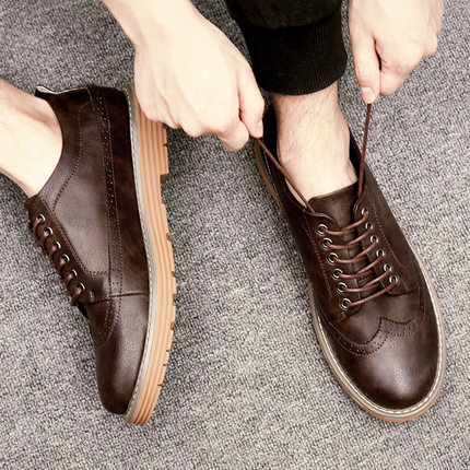 2017冬季飞駝男鞋布洛克雕花男鞋英伦风格 休闲鞋时尚潮流单鞋子