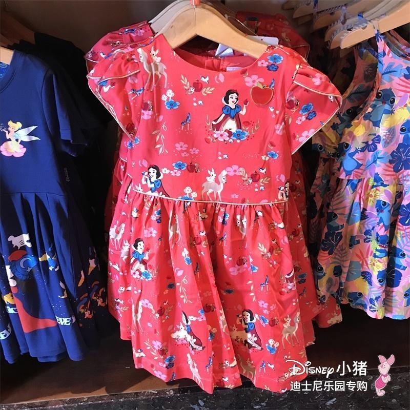 香港迪士尼乐园代购 白雪儿童公主裙 红色可爱公主 新卡通连衣裙图片