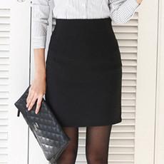 2017高腰包臀半身裙夏季短裙一步裙中长职业裙黑工装裙西装裙包裙