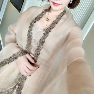 韩国春秋桑蚕丝丝巾欧根纱花边刺绣真丝新娘礼服婚礼披肩女围巾