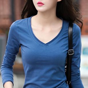 春秋季长袖t恤女2018新款韩版白色打底衫修身显瘦纯棉紧身上衣