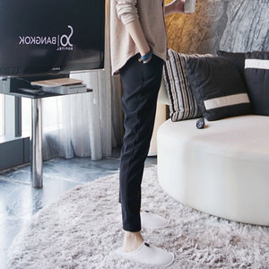 黑色裤子2017新款女西裤九分裤韩版百搭宽松西装裤直筒小脚休闲裤女裤