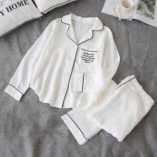 纯棉纱布月子服春秋季孕妇睡衣夏天薄款哺乳衣产后喂奶家居服套装