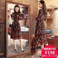 2018春装新款韩版女装修身显瘦气质春款雪纺碎花连衣裙中长款长袖