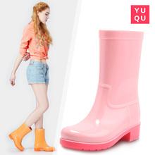 雨趣春夏时尚中筒雨靴休闲水靴防水防滑水鞋胶鞋套鞋成人雨鞋女