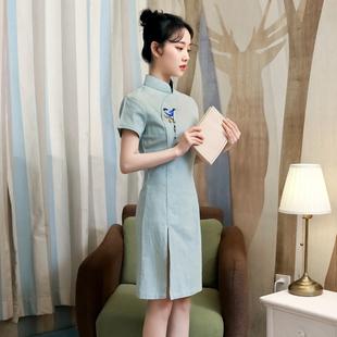 棉麻短款文艺年轻款少女民国中国风复古旗袍日常改良版学生连衣裙
