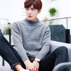 男士纯色针织韩版半高领线衣秋冬季男装打底衫毛衣加厚外套上衣服
