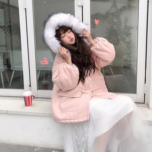 2018新款冬季韩版中长款宽松毛领连帽棉衣学生夹棉加厚棉服外套女