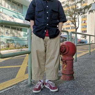 潮牌工装裤男宽松直筒复古立体剪裁阔腿裤余文乐九分裤薄款休闲裤