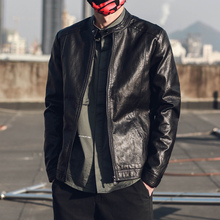 皮衣男士 春季韩版 修身 立领青年男装 简约黑色潮流休闲皮衣外套男潮